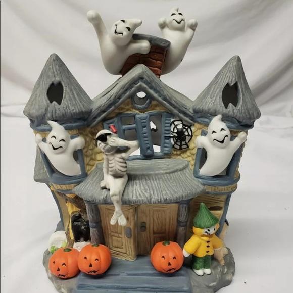 Partylite Halloween Haunted Tea Light House Ghosts